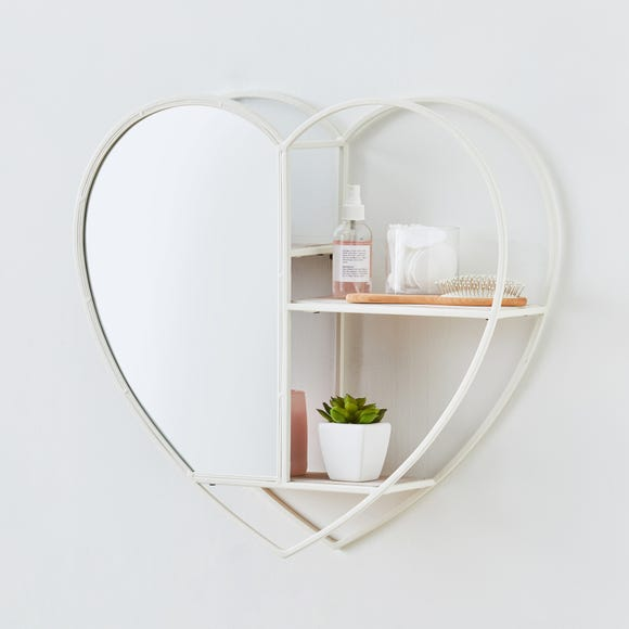 White Heart Mirrored Metal Shelf White