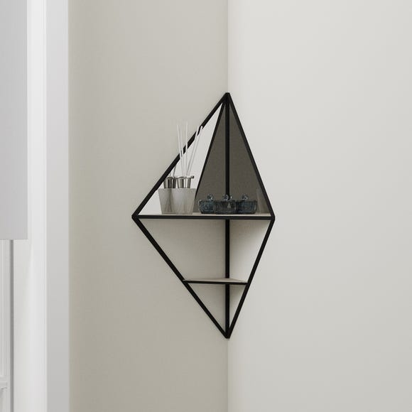 Corner Mirrored Shelf Black
