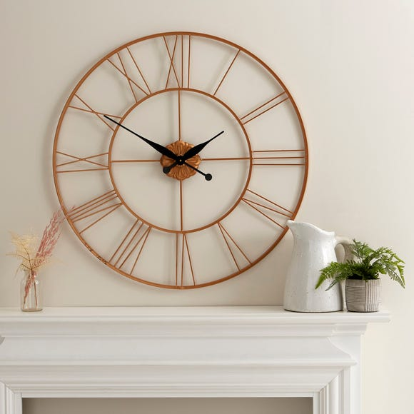 Roman Numeral 80cm Metal Wall Clock Gold Gold