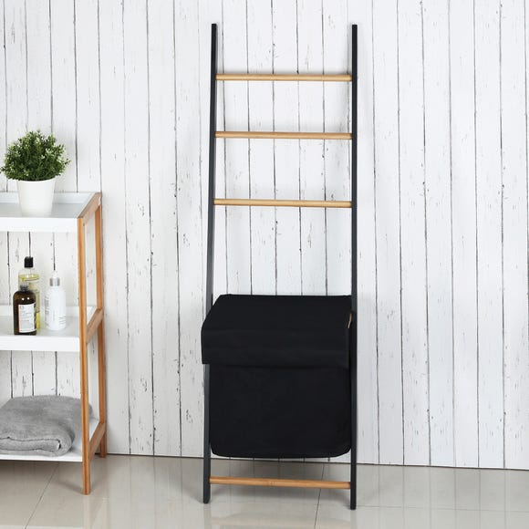 Bamboo Ladder and Laundry Basket Natural