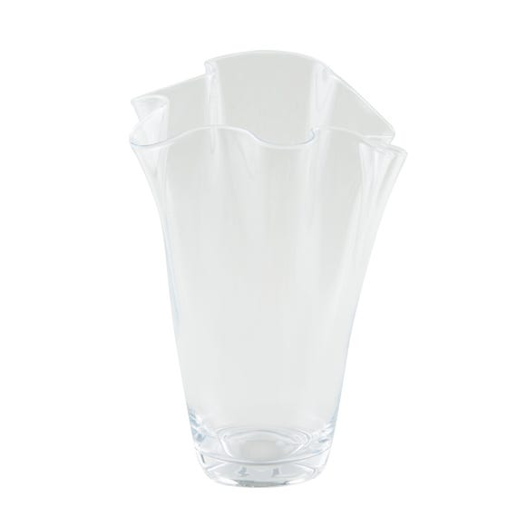 Large Glass Handkerchief Vase Clear