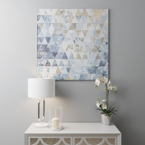 Gloss Blue And Gold Geo Canvas