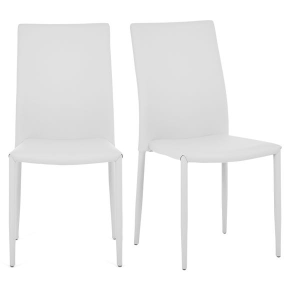 Axel Set of 2 Dining Chairs White PU Leather