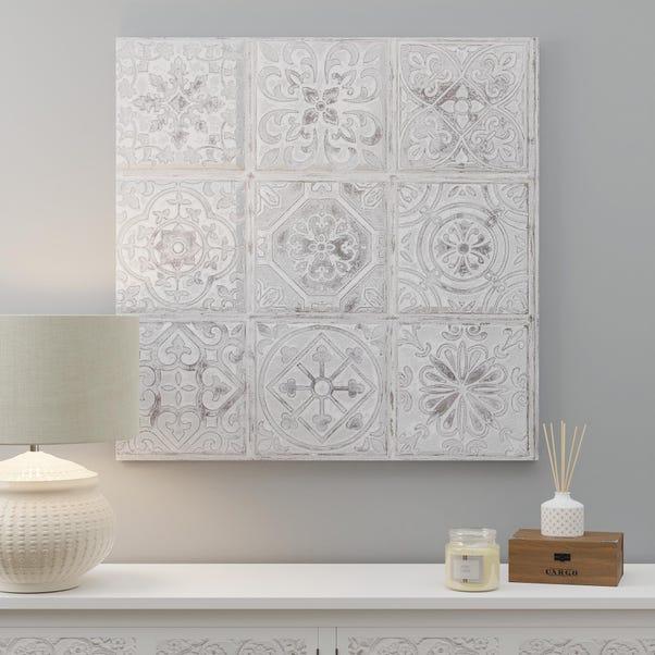Morroccan Tile Canvas White