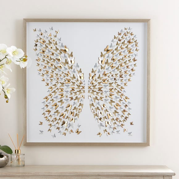3D Laser Cut Butterfly Framed Print Gold