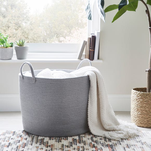 Large Grey Rope Basket Grey
