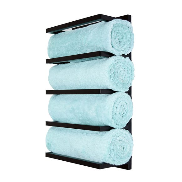 Matt Black 5 Tier Wall Towel Rack Black