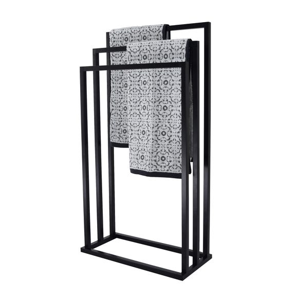 Black 3 Rail Free Standing Towel Holder Black