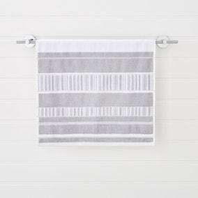 Sheared Stripe Silver Towel