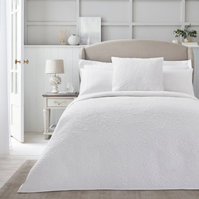 Dorma Purity White Cotton Embroidered Bedspread