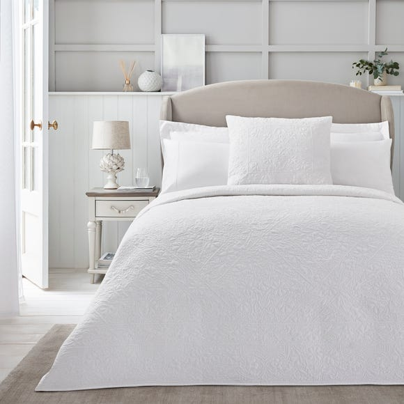 Dorma Purity White Cotton Embroidered Bedspread  undefined