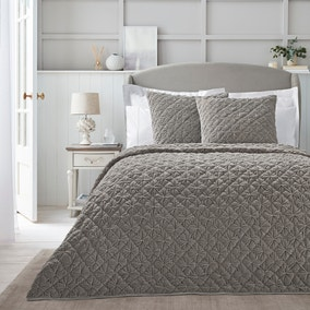 Dorma Purity Grey Velvet Diamond Bedspread