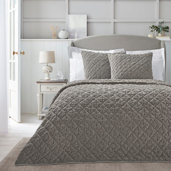Dorma Purity Grey Velvet Diamond Bedspread  undefined