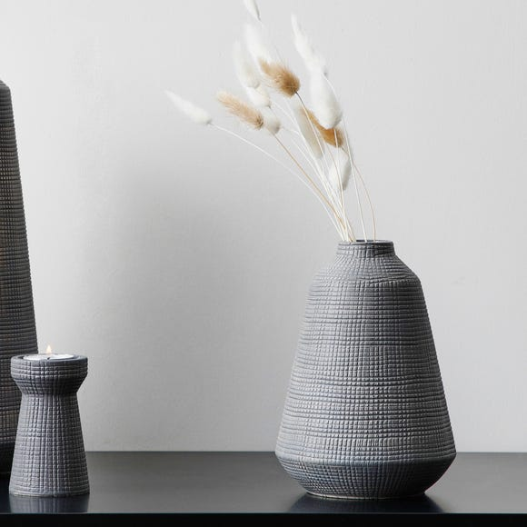 Small Matte Grey Ceramic Vase Grey