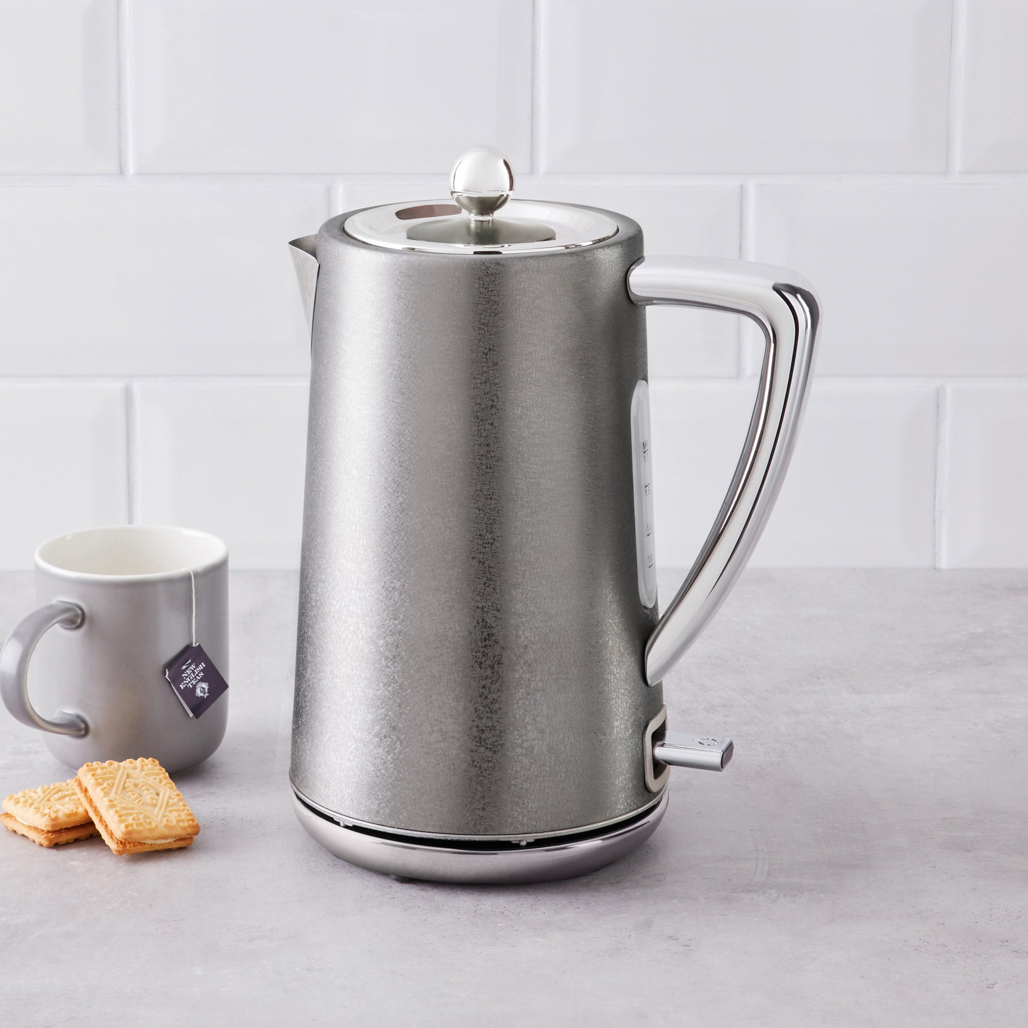 Click to view product details and reviews for Crackled Effect 17l 3kw Steeple Grey Kettle Silver.