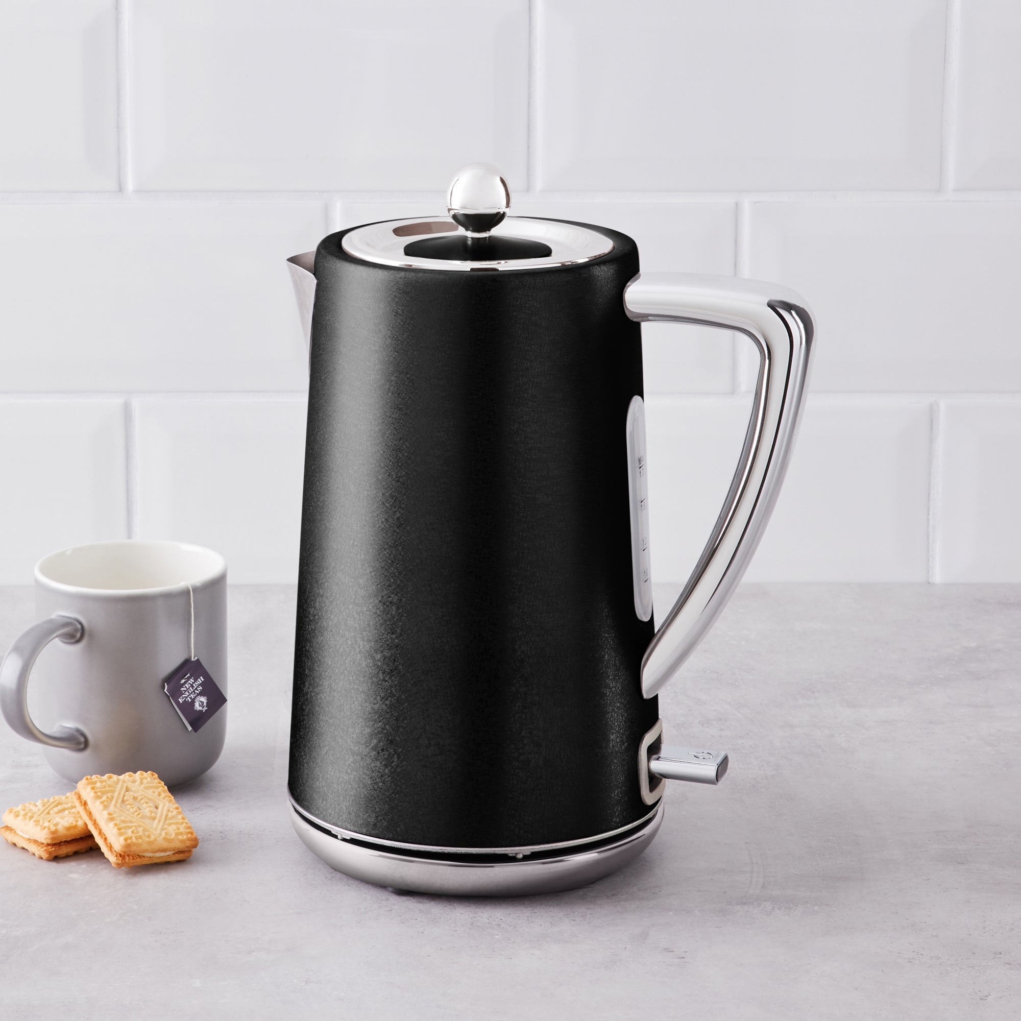 Click to view product details and reviews for Black Crackled Effect Kettle Black And Silver.