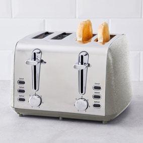 Crackled Effect 4 Slice Steeple Grey Toaster