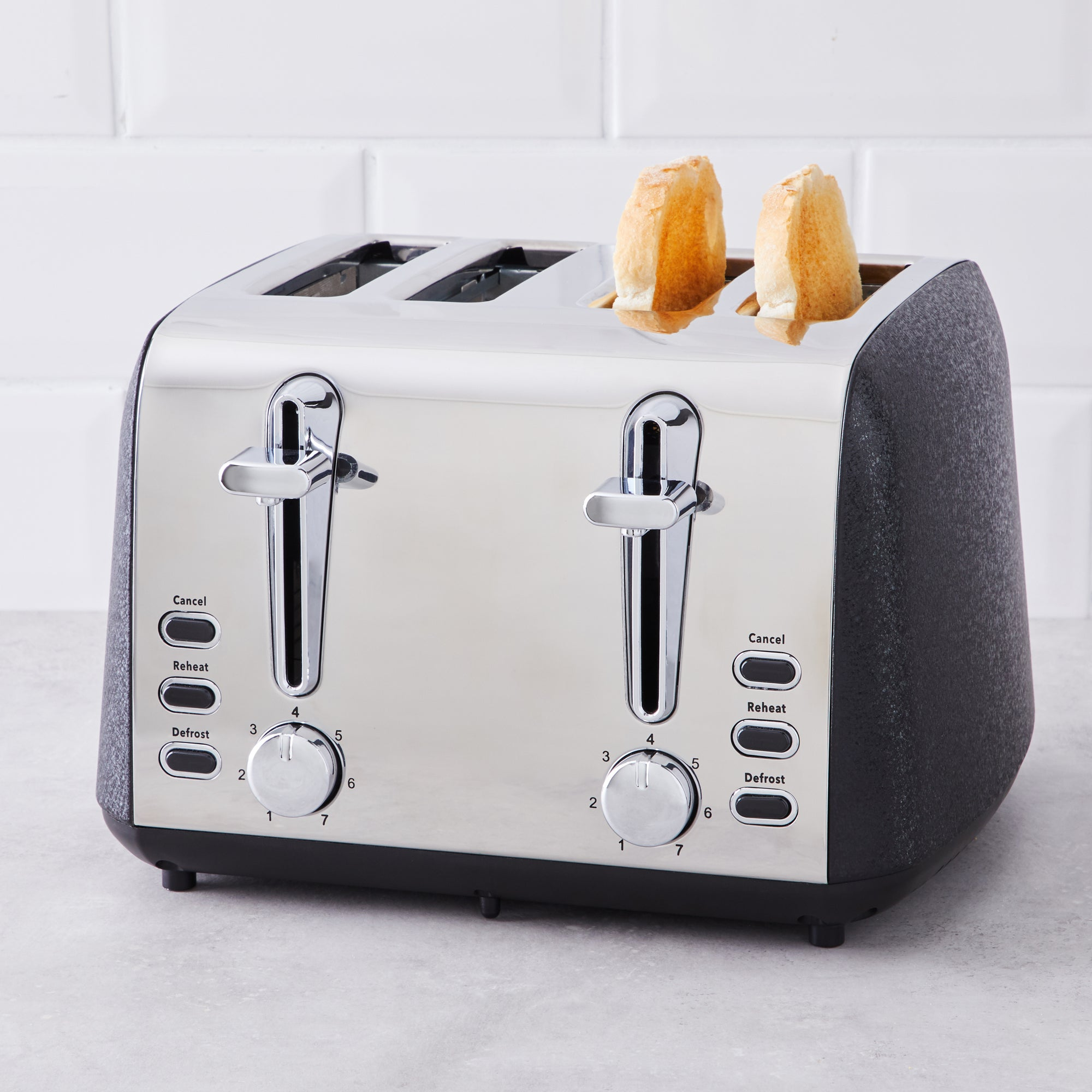 Click to view product details and reviews for Black Crackled Effect Toaster Black And Silver.