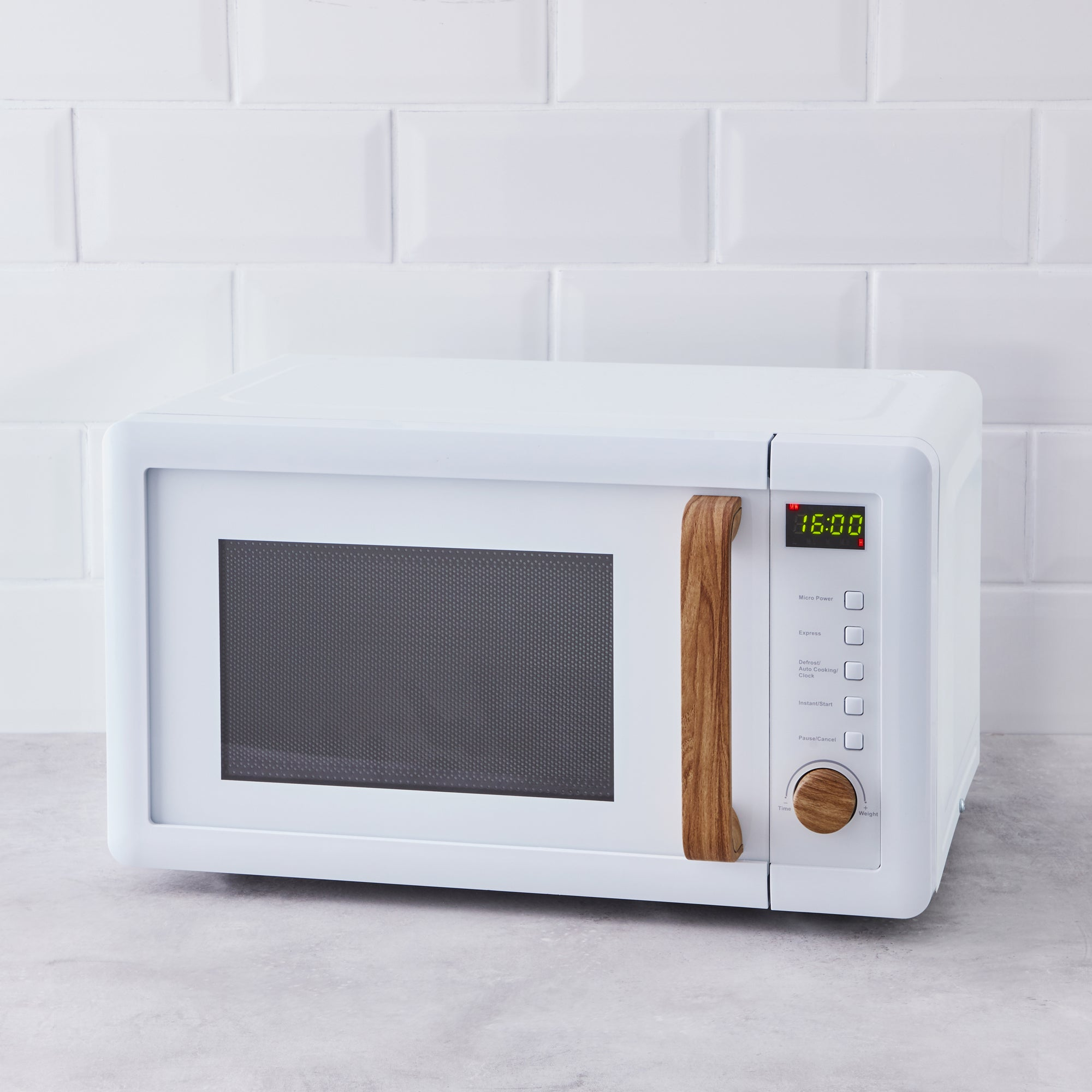 White Contemporary Microwave White And Brown