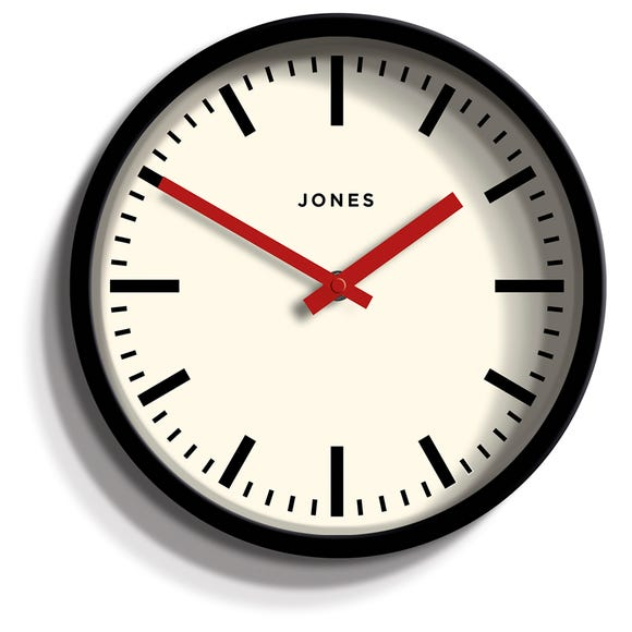 Jones Red and Black Retro Clock Black
