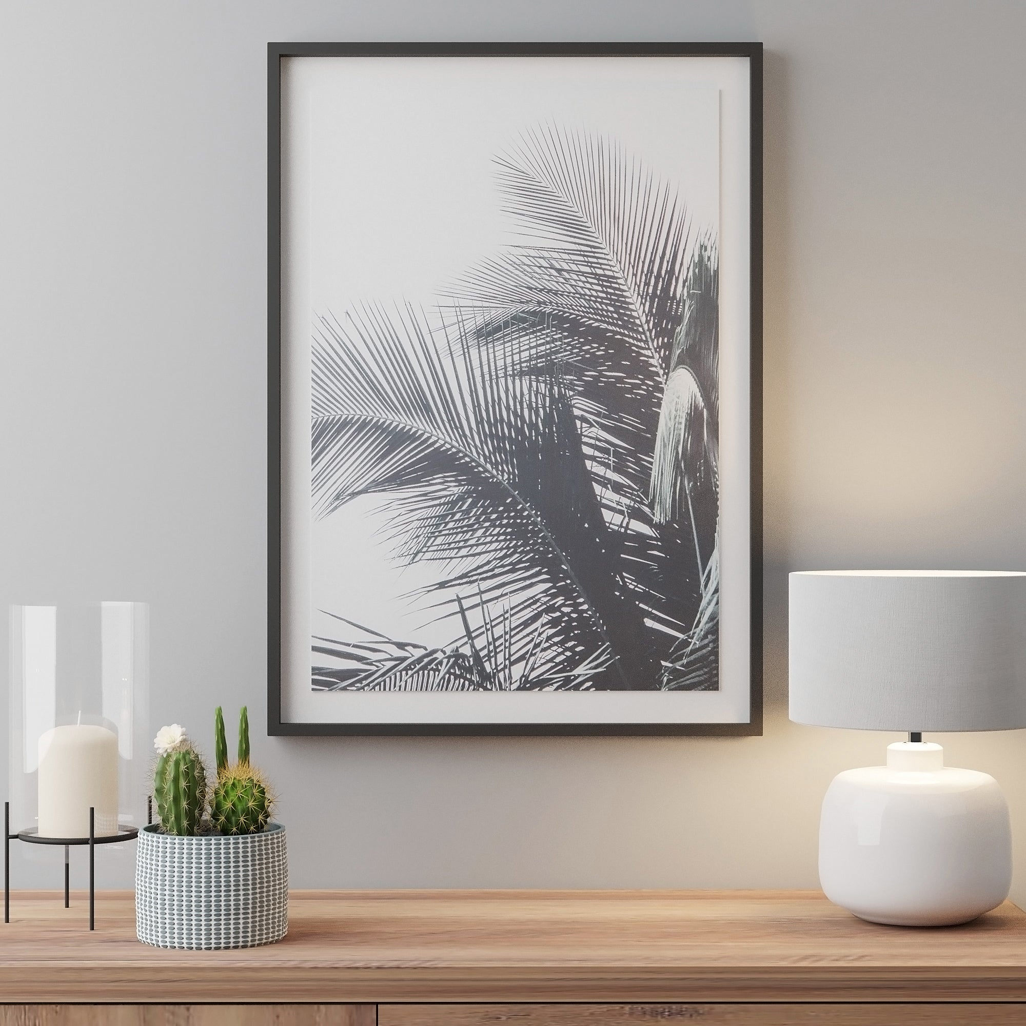 Click to view product details and reviews for Large Palm Tree Framed Print White.