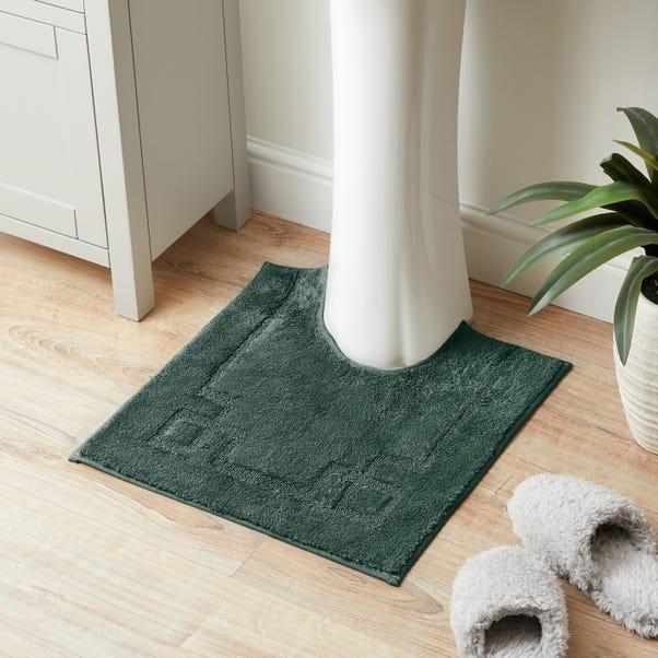 Luxury Cotton Non-Slip Forest Green Pedestal Mat