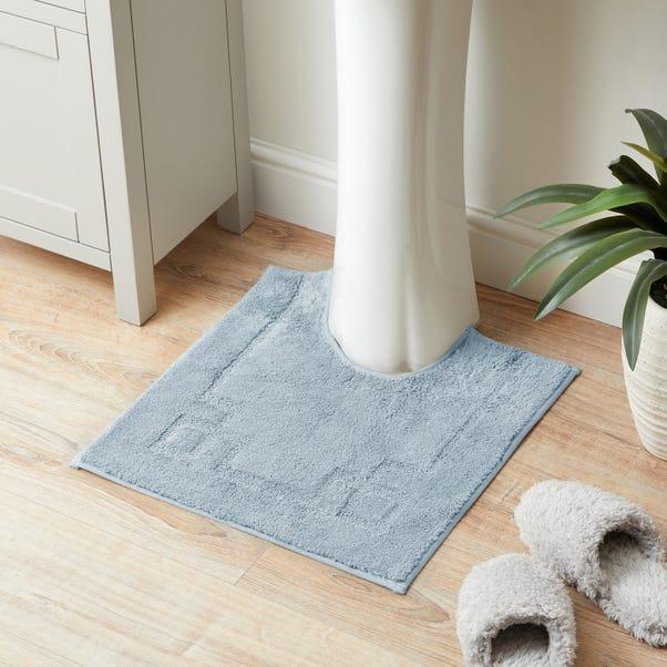 Luxury Cotton Non-Slip Sky Blue Pedestal Mat