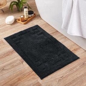 Luxury Cotton Non-Slip Black Bath Mat