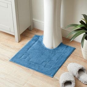 Luxury Cotton Non-Slip Cornflower Pedestal Mat