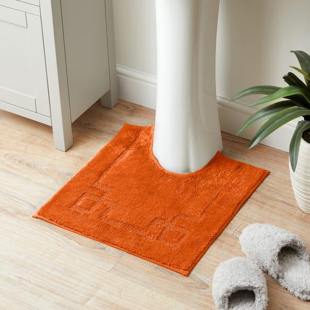 Luxury Cotton Non-Slip Burnt Orange Pedestal Mat Burnt Orange