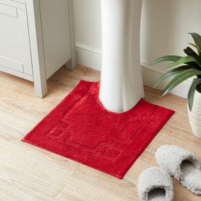 Luxury Cotton Non-Slip Red Pedestal Mat