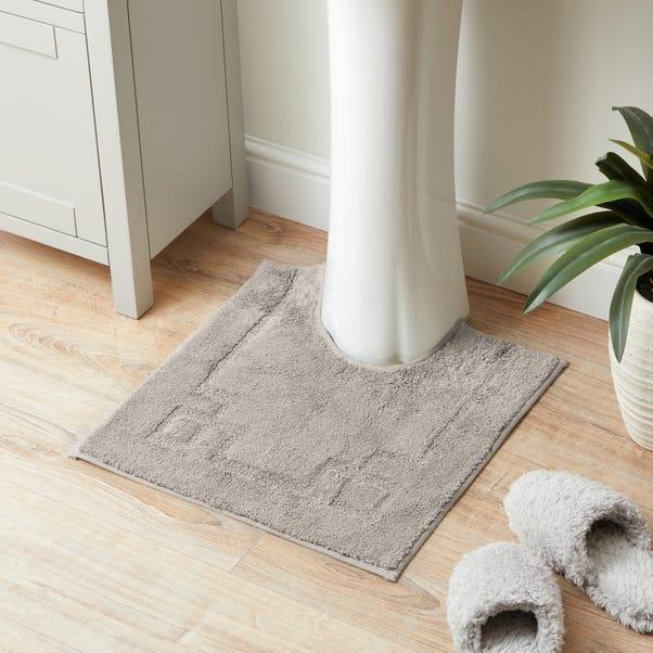 Luxury Cotton Non-Slip Silver Pedestal Mat