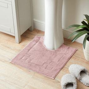Luxury Cotton Non-Slip Blush Pedestal Mat