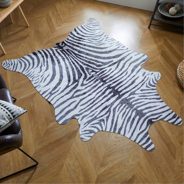 Zebra Print Rug Black & White