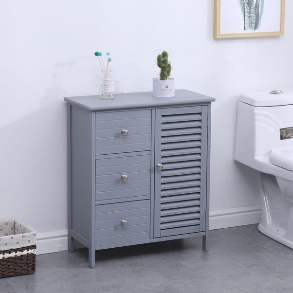 Nautical Grey and Nickel 3 Drawer Cabinet Unit Grey