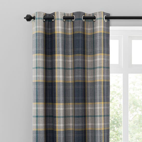 Astley Navy Check Eyelet Curtains  undefined