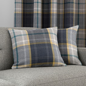 Astley Navy Check Cushion