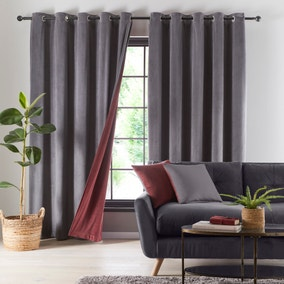 Reversible Merlot and Charcoal Velour Eyelet Curtains