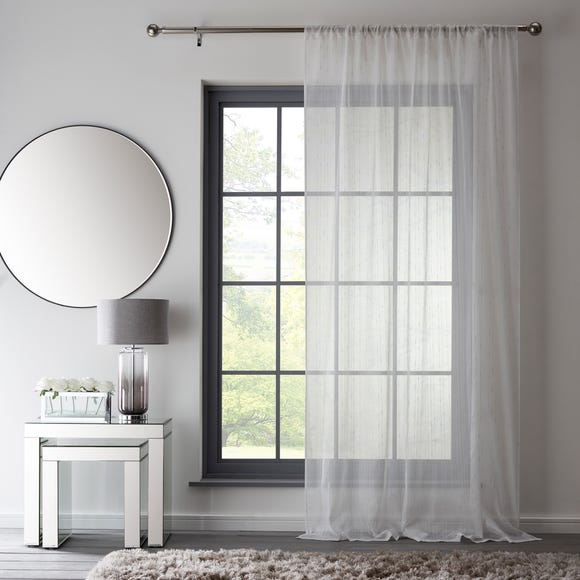 Reluxed Metallic White Slot Top Voile  undefined