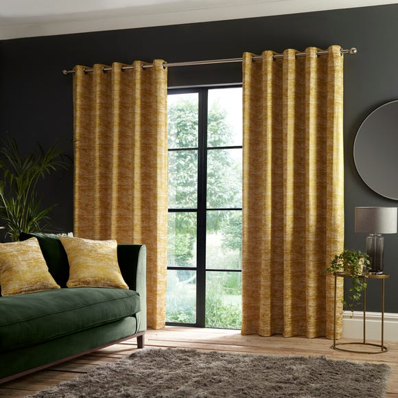 Luxe Texture Old Gold Eyelet Curtains  undefined
