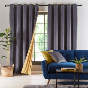 Reversible Gold and Charcoal Grey Velour Eyelet Curtains