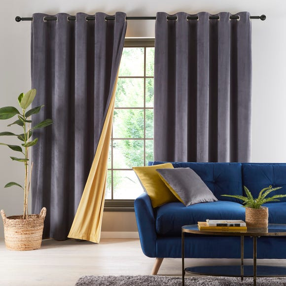 Reversible Gold and Charcoal Grey Velour Eyelet Curtains  undefined