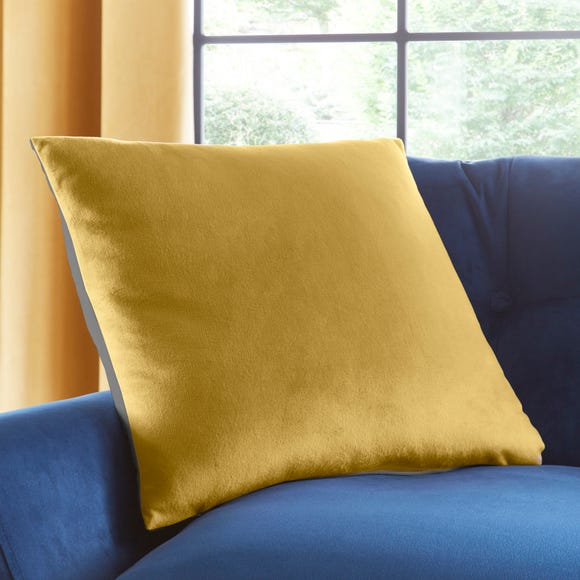 Reversible Gold and Charcoal Grey Velour Cushion MultiColoured