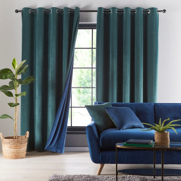 Reversible Peacock Green and Navy Velour Eyelet Curtains  undefined