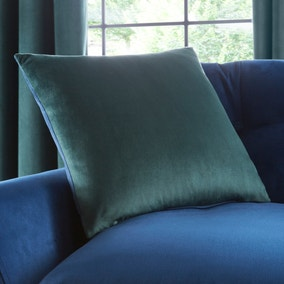 Reversible Peacock Green and Navy Velour Cushion