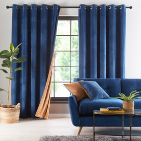 Reversible Navy and Butterscotch Velour Eyelet Curtains