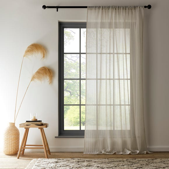 Lucia Stripe Natural Slot Top Voile  undefined