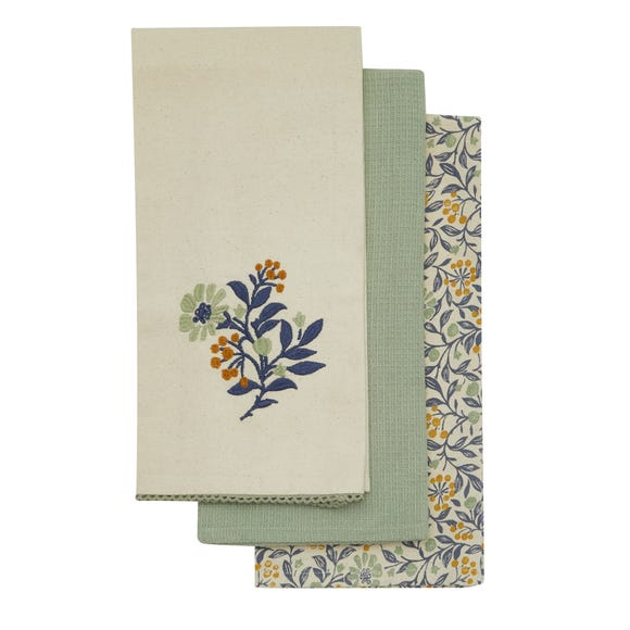 Pack of 3 Arts and Crafts Tea Towels MultiColoured