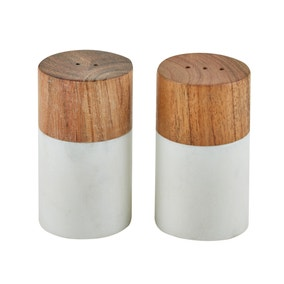 Dunelm Marble Wood Salt and Pepper Shakers