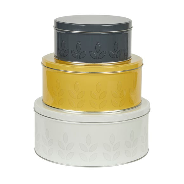Dunelm Set of 3 Leaf Print Cake Tins MultiColoured